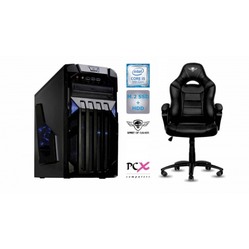 Komplet računalnik PCX EXAM i5-9400F/8GB/SSD 256GB/HDD 1TB/nv1650-4GB in Gaming stol SOG FIGHTER
