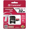 SDHC TRANSCEND MICRO 32GB 400X PREMIUM, 60MB/s, C10, UHS-I Speed Class 1 (U1), adapter 122891
